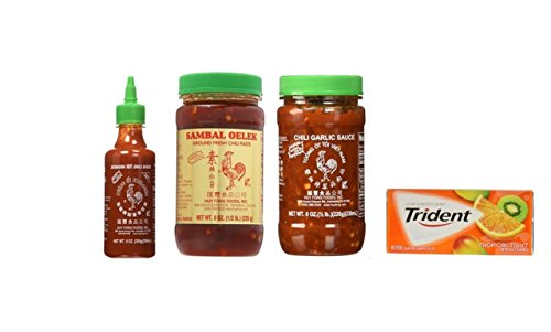 Huy Fong Sriracha 9oz + Chili Garlic Sauce 8oz+ Sambal Oelek 8oz Assorted Favorite Asian Sauces 3-Pack Exclusive Bundle Plus a Free Gift Trident Gum