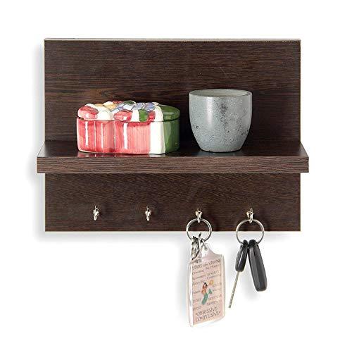 (WILLART 5 Wooden Key Holder with Wall Decor Shelf - Wenge)