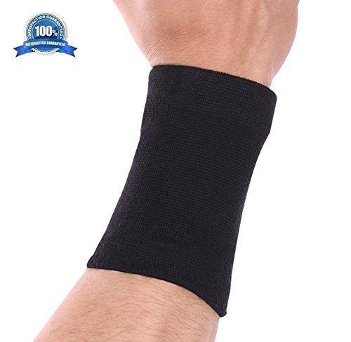 Bamboo Wrist Sweatband Support by Mcolics (Pair) - Antimicrobial Wristband / Sweatband - Best Compression Wrist Wrap for Arthritis, Tendonitis, Carpal Tunnel Syndrome, Tennis (Black)
