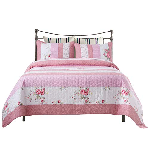 Soul & Lane Rows of Roses 100% Cotton 3-Piece Real Patchwork Quilt Set (Queen) | with 2 Shams Pre-Washed Reversible Machine Washable Lightweight Bedspread Coverlet