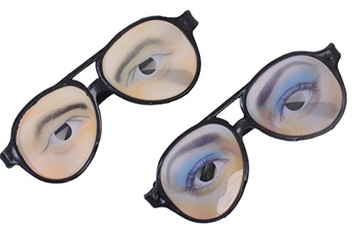 2 PCS Funny Eye Disguise Glasses Toy Tricking Prop for Halloween April Fools' Day Costume Party Accessory Male Female]()