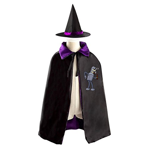 Leela Futurama Costumes (Bender Futurama Halloween costume dress with hat reversible witch cloak)