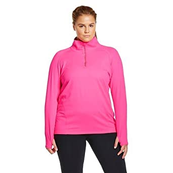 14e9397e DuoDry Champiom Champion Premium Duo-Dry Women's Long Sleeve Reflective 1/4  Zip Neon