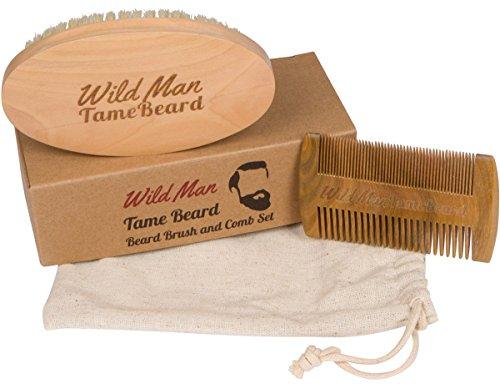 Homme sauvage apprivoisé barbe barbe brosse et barbe peigne Set doux sanglier soies parfait pour une utilisation avec barbe huile cire Baume et pommade peigne santal parfait pour hommes barbe & moustache