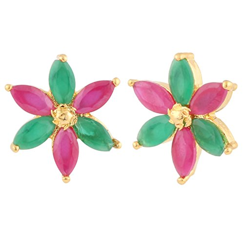 - Efulgenz Indian Bollywood Designer 18 k Gold Plated Traditional CZ Stud Earrings Jewelry for Women and Girls Gift for Her