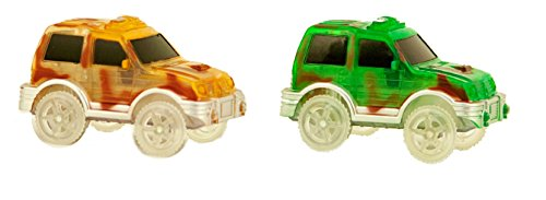 Bend A Path Toy Track Accessory- 2 Pack Light Up CAMO SUVs Toy Cars- Fits all Create A Road Vehicle Play Sets
