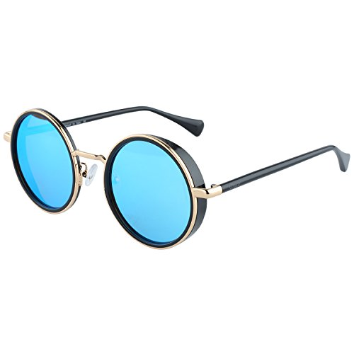 Duco Vintage Retro Steampunk Style Round Sunglasses Mirror Lens Cyber Cosplay UV400 Protection Sunglasses W004(Black Frame Revo Blue - Glasses Cyber