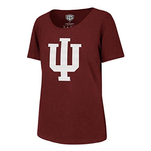 (NCAA Indiana Hoosiers Adult Women NCAA Women's Ots Slub Scoop Distressed Tee, Medium, Cardinal )
