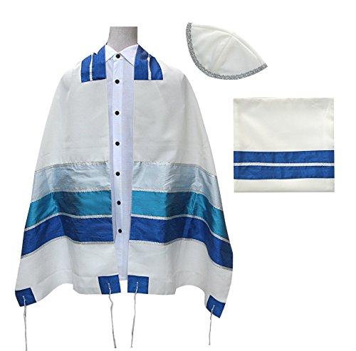 - Talit Tallit Tallis 3 pc. Set + Matching Tallit Bag + Matching Kippah Blue, Silver, Turquoise & Blue Sky Stripes Design, ISRAEL, Size: 70