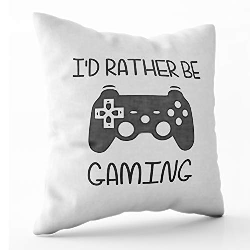 Shorping Zippered Pillow Covers Pillowcases 20X20 Inch Halloween id Rather be Video Gaming Decorative Throw Pillow Cover,Pillow Cases Cushion Cover for Home Sofa Bedding ()