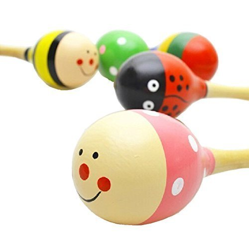 Kids Wooden Maracas ,Rattle Shakers Musical Educational Toys,Random Color and pattern,Set of 4,Mini