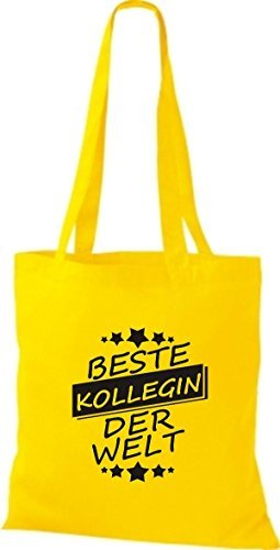 shirtinstyle Bolsa de tela bolsa de algodón MEJOR kollegin MUNDO amarillo