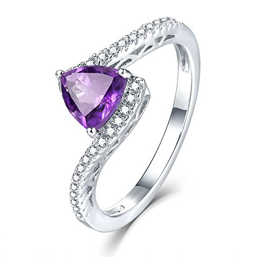 Real Gemstone Sterling Silver Amethyst Ring Feb Birthstone Halo Solitaire Engagement Rings for Girls Size 8