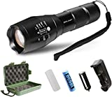 LED Tactical Flashlight,with Rechargeable 18650 Lithium Ion Battery and Charger Super Bright LED, High Lumen, Zoomable, 5 Modes, Water Resistant