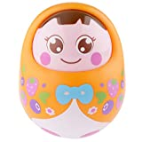 Kids Baby Tumbler Dolls with Bell Nodding Doll Early Educational Toys Orange