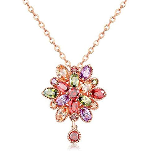 - Multicolor Cubic Zirconia Rose Gold Geometric Star Earrings Necklace Female Oorbellen boucle doreille,Flower Necklace