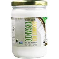 Organic Virgin Coconut Oil For Cooking, Baking, and Beauty, Non-GMO, Cold-Pressed, Unrefined, Pure, Sustainably Sourced Certified Fair Trade 16 OZ Glass Jar Roots and All
