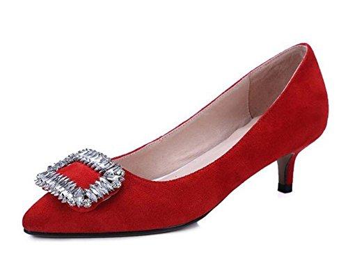 casuali di tacco eleganti RED scarpette da 37 con opaco sposa pattini Womens temperamento pink sottile 41 diamante dei XIE tOzfxf