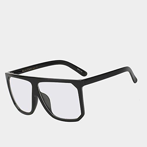 grande de w hembra UV400 Gafas claro TIANLIANG04 con Las de enormes unas superior gafas de sol Vintage Style de Gafas clear cuadrados W parte bastidor mujeres plana sol gafas Black negro TqCEwI