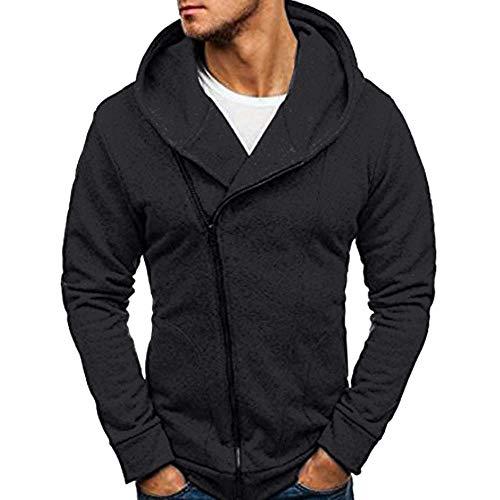 ZEFOTIM Men's Long Sleeve Autumn Winter Casual Sweatshirt Hoodies Coat Tracksuits Jacket(Large,Black) ()