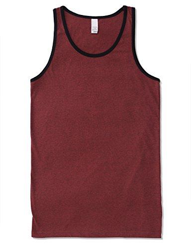 Ringer Contrast - Mens Men's Basic Athletic Jersey Tank Top Contrast Binding 2XL Red Black
