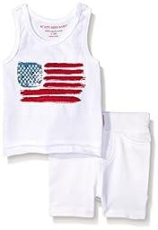 Burt\'s Bees Baby Baby American Flag Organic Tank and Short Set, Cloud, 24 Months