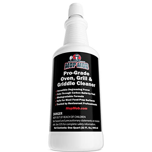 Commercial Grill and Oven Cleaner 32 Oz Heavy Duty Concentrate. Fast-Acting Degreaser Solution Removes Carbon, Grime, Burnt Food and Oil for Griddles, Fryer Baskets and Kitchen Cooking -