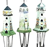 """Wooden Lighthouse Windchime With Small Hanging Wooden Ornament 24"""""""