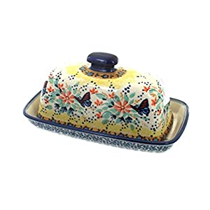 Blue Rose Polish Pottery Blue Butterfly Butter Dish