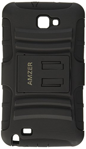 Amzer AMZ94201 Dual Layer Hybrid Kickstand Case Cover for Samsung Galaxy Note i717 i9220 N7000-1 Pack - Retail Packaging - Black