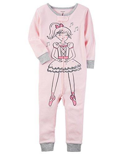 Carter's Baby Girls' 1-Piece Snug Fit Cotton Footless Pajamas (18 Months, Pink Ballerina)