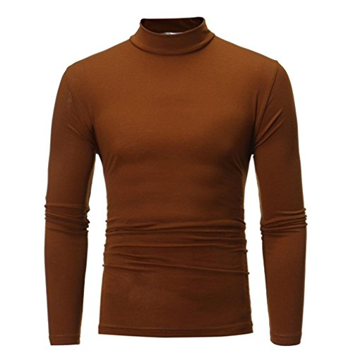 Sunhusing Men's Autumn and Winter Solid Color Turtleneck Long Sleeve Top Elastic Slim Pullover