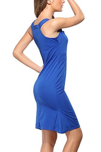 Damen elegante Vierkantansatz Swing Partykleid Blue iSoW7 - schooner ...