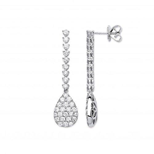 Jareeya-Or blanc 18ct-CT Diamant Fancy Pave Boucles d'oreilles pendantes en forme de poire