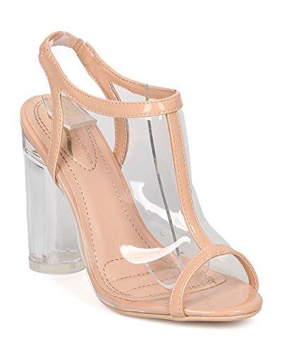 Alrisco Women Lucite Slingback Mule - Party, Dressy, Formal - Peep Toe Block Heel - GE47 by Nude (Size: 10)