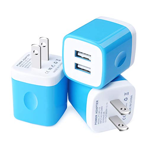 Wall Charger, Charging Cube, Sixsim 3Pack Dual Port USB Wall Charger Brick 2.1A Phone Charger Box Charging Block Plug Compatible Phone XR XS X 8 7 Plus, iPad, Samsung Galaxy S9 S8 S7 A9, LG, Android