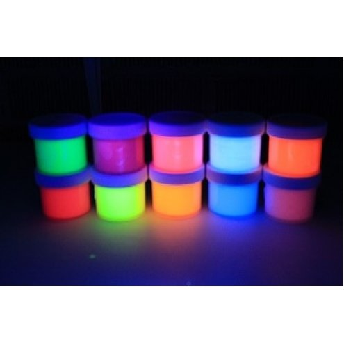 10 Color Set UV Black light .5oz/15ml (5oz/150ml), Neon Rave Fluorescent Acrylic Paint (Blacklight Paint)