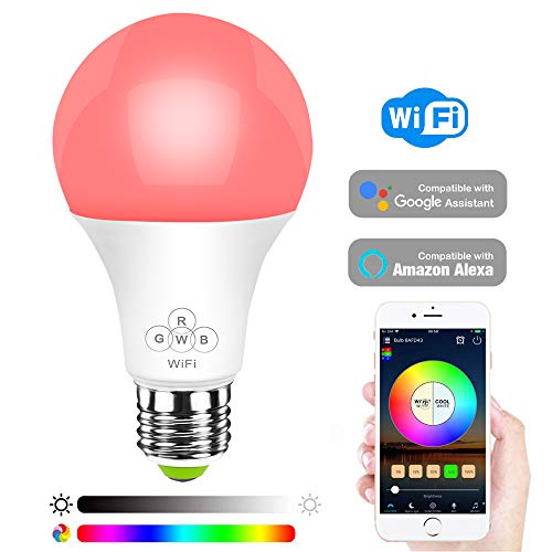 HaoDeng Smart LED WiFi Light Bulb -Timer & Sunrise & Sunset - 50W Equivalent E27,Dimmable,Multicolor,Warm White(Color Changing Disco Ball Lamp) Compatible with Alexa,Google Home and -
