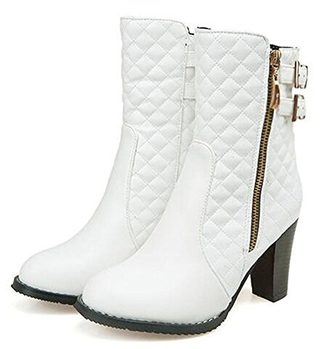 CHFSO Womens Trendy Solid Plaid Round Toe Zipper With Buckle High Chunky Heel Mid Cuff Boots White IrGHh