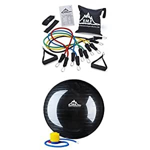Black Mountain Resistance Bands & 75 cm Stability Ball Bundle