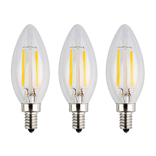 (OPALRAY LED Candelabra Low Voltage Bulb, DC 12V, 2W 200Lm, Dimmable, Warm White Light, E12 Candle Base, Clear Glass Torpedo Tip, 25W Incandescent Equivalent, 12Volts AC/DC Power, 3 Pack)