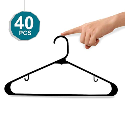 Black Plastic Hangers,Everyday Standard Tubular Hangers,Premium Quality Heavy Duty Hangers,Durable and Strong Clothes Hangers,Adult Stylish Simple Suit hangers,Perfect for Shirt,Coat,Dress Pack of 40