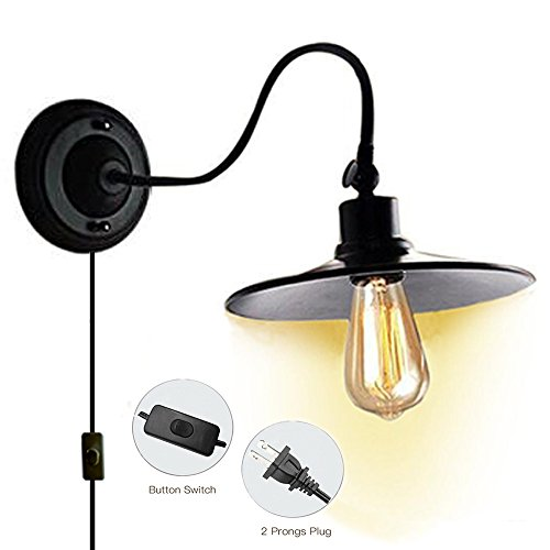 Kiven Plug In Industrial Edison Gooseneck Antique Style Wall Sconce Lamp Black Vintage Wall Light - Fixed Arm Wall Lamp