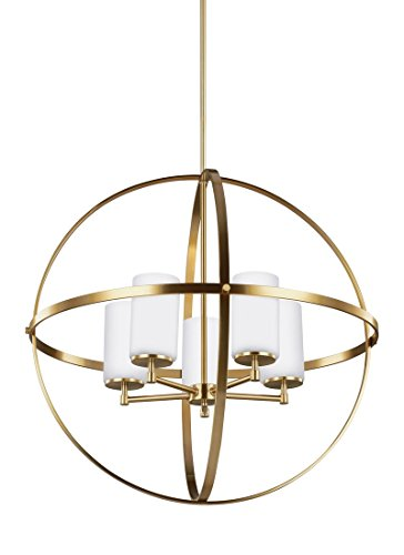 Sea Gull Lighting 3124605-848 Alturas Five-Light Chandelier with Etched / White Inside Glass Shades, Satin Bronze Finish - Bronze Satin Chandelier