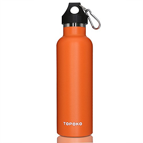 TOPOKO 25 oz Stainless Steel Vacuum Insulated Water Bottle, Keeps Drink Cold up to 24 Hours & Hot up to 12 Hours, Leak Proof and Sweat Proof. Large Capacity Sports Bottle (Orange)