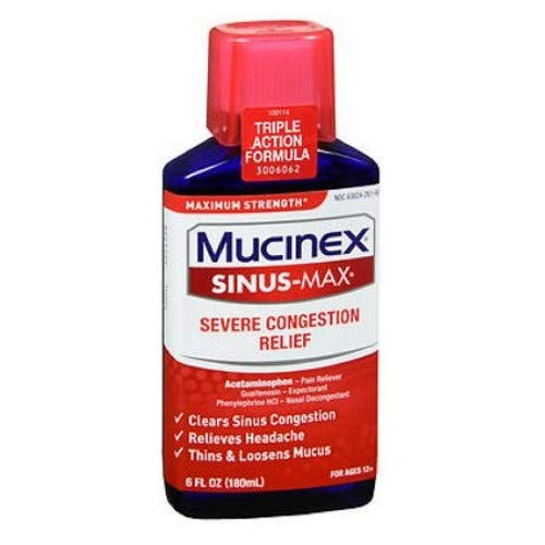 Mucinex Sinus-Max Severe Congestion Relief Liquid, 6 oz by Airborne (Pack of 2)