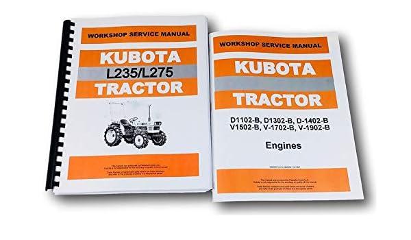 Amazon com: Kubota L235 L275 Tractor Service D1102 D1302