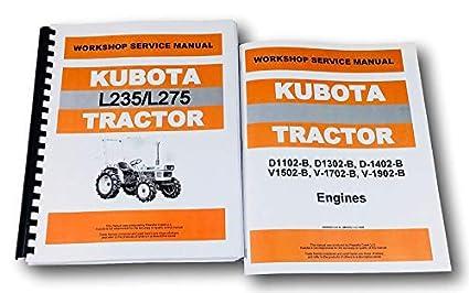 amazon com kubota l235 l275 tractor service d1102 d1302 engine