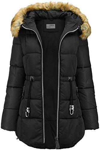 largo Abrigo capucha de efecto negro con plumón invierno de largo de pelo parka qgqxU4