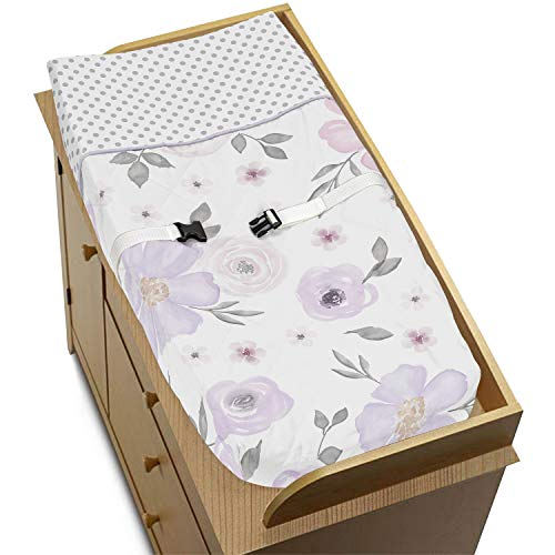 Sweet Jojo Designs Lavender Purple, Pink, Grey and White Changing Pad Cover for Watercolor Floral Collection - Rose Flower